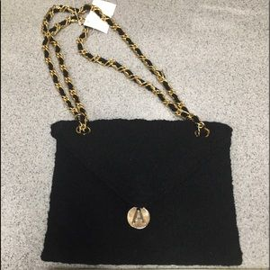Vintage boiled wool bag with gold chain handle